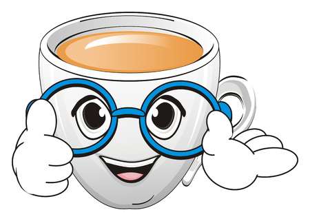 Happy cup of tea in glasses show gesture class Stock Photo