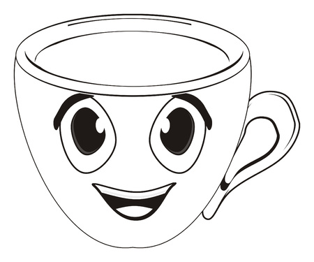 색칠 행복 한 빈 컵