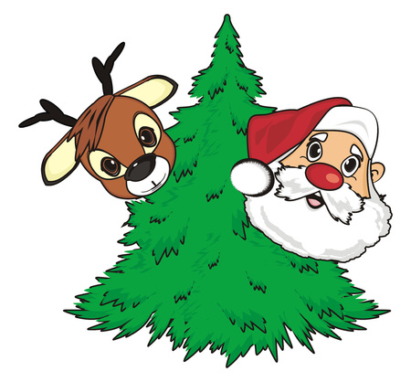 Face of santa claus and deer peek up from christmas tree