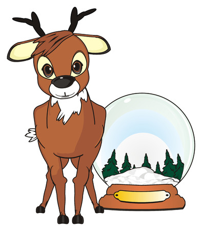 cute: Deer stand with a snow ball