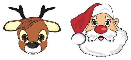 good friends: Face of santa claus with snout of deer