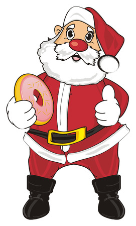 grandfather frost: Santa claus stand and eat a donut and show gesture cool
