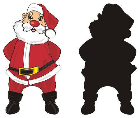 lapland: Colored santa claus stand with solid black santa claus Stock Photo