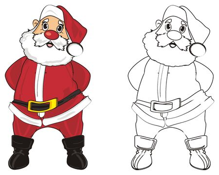 lapland: Colored santa claus stand with coloring santa claus