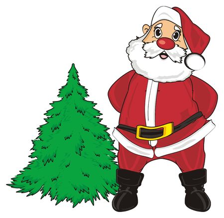 Santa claus stand with christmas tree not jewelry