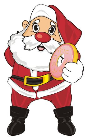 Santa claus stand and hold a donut Stock Photo