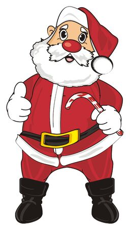 Santa claus hold a candy and show gesture