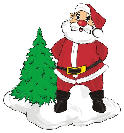 grandfather frost: Santa claus stand in snow with christmas tree