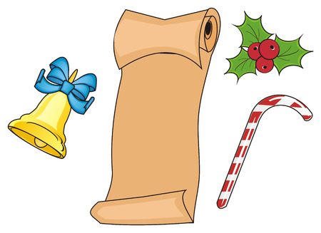 Clean paper with three signs of christmas Stock Photo