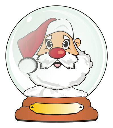 Face of santa claus in snow ball