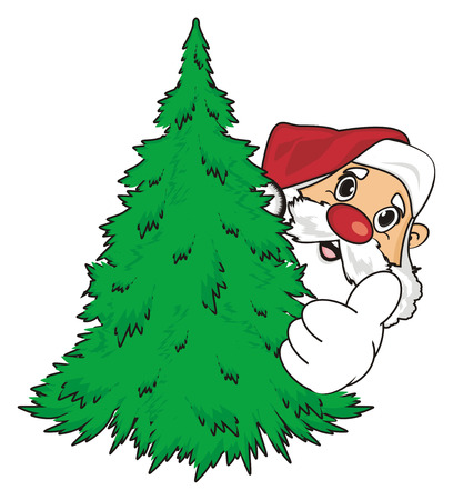 Face of santa claus peek up from christmas tree and show gesture class