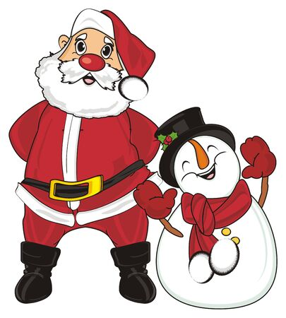 grandfather frost: Santa claus stand with snowman Stock Photo