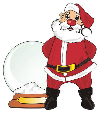 Santa claus stand near an empty snow ball Stock Photo