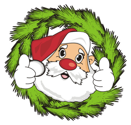 Face of santa claus peek up from wreath and show gesture class