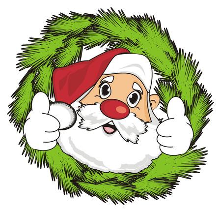 Gezicht van de kerstman kijk uit de krans en laat de gebaarsklasse zien Stockfoto