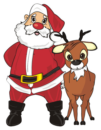 grandfather frost: Santa claus stand with his friend deer
