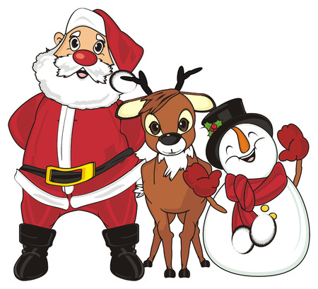 Santa claus stand with deer and snowman