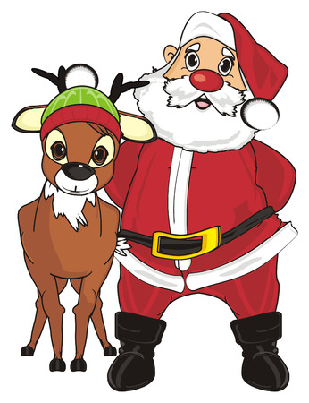 Santa claus stand with deer in hat