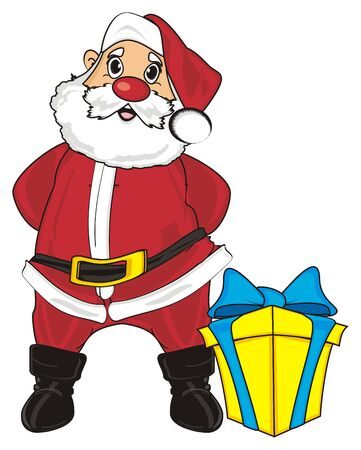 Santa claus stand with one gift with ribbon