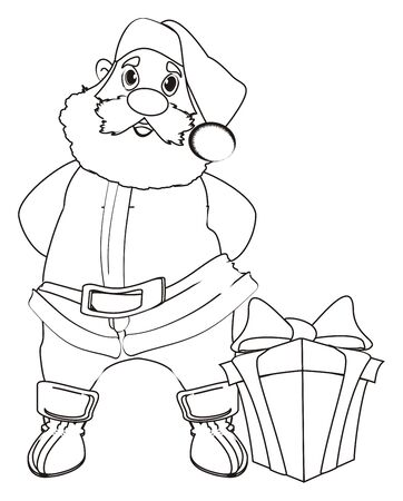 lapland: Coloring santa claus stand with one gift