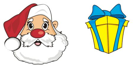 grandfather frost: Face of santa claus with gift