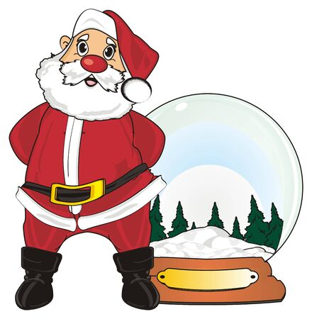 Santa claus stand with big snow ball