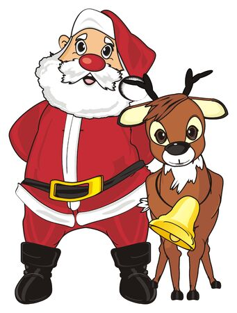 Santa claus stand with his deer