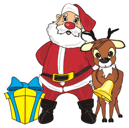 Deer stand with santa claus and gift