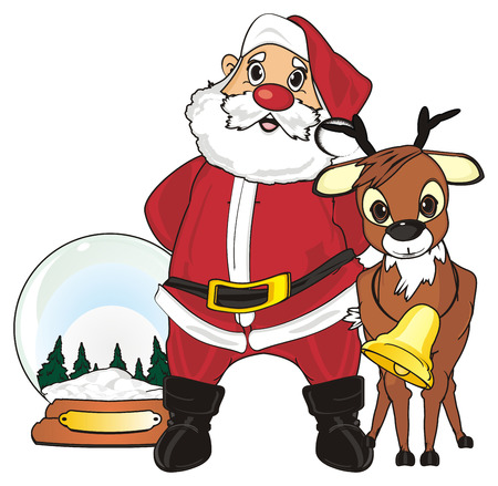 Santa claus with deer stand near the snow ball