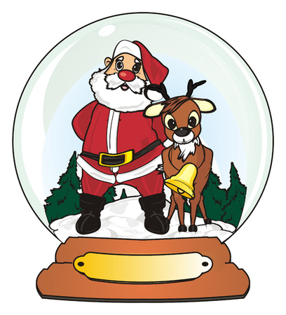 Santa claus with deer stand in snow ball