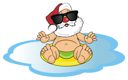 Santa claus in black sunglasses swimming Фото со стока