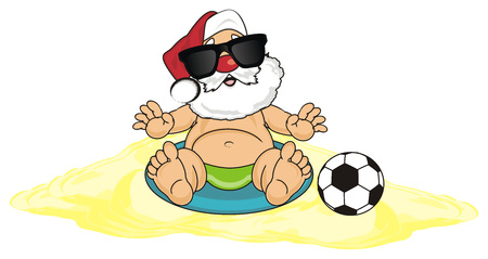 cute: Santa claus sit on the sen with soccer ball