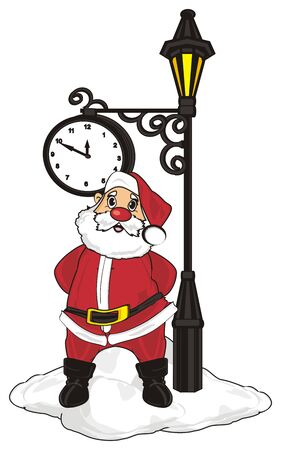 grandfather frost: Santa claus stand under the clock