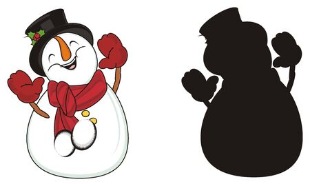 Colored snowman stand with solid black snowman Banco de Imagens