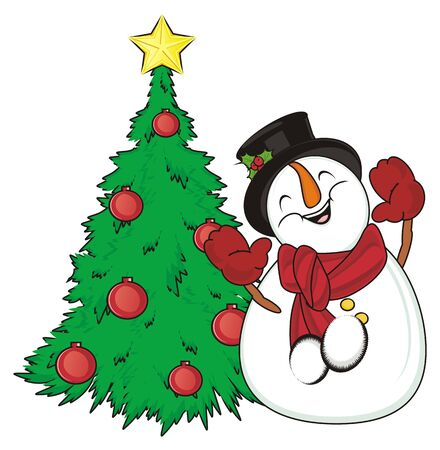happy snowman with greek christmas tree stock photo 82431023 - When Is Greek Christmas
