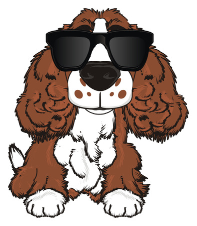 barking: Brown spaniel in large black sunglasses sit Stock Photo