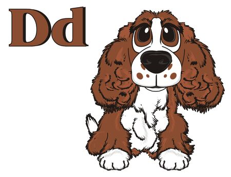 good friends: Brown spaniel with brown letters d Stock Photo