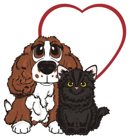 curly tail: Cat and dog with large red heart