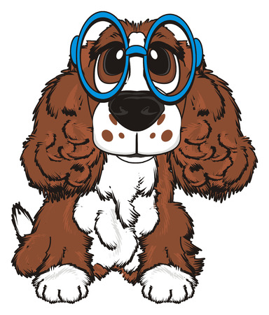 barking: Brown spaniel in large glasses