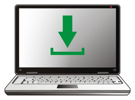 operating key: Laptop with green download sign