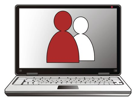operating key: people and laptop