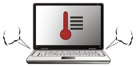 Overwinnende laptop met streams Stockfoto