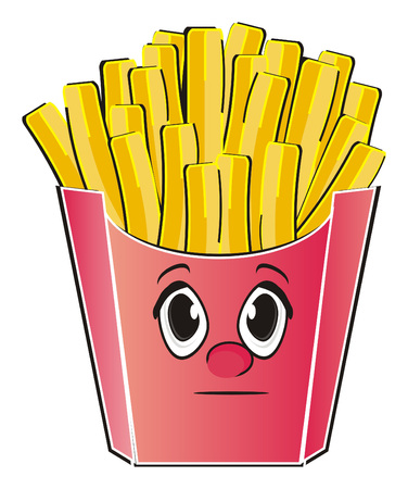 Face of french fries with out emotion Stock Photo