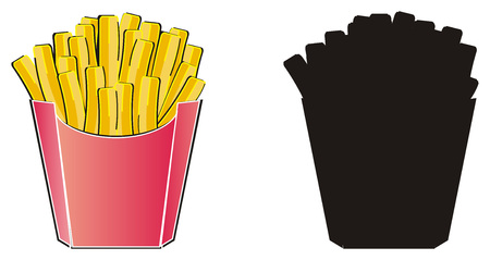Colored french fries with solid black french fries