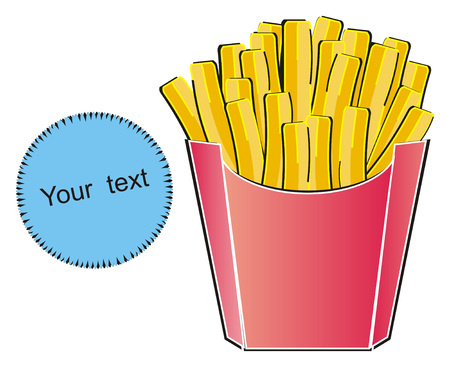 French fries and clean blue banner