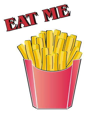 French fries with words eat me Stock Photo