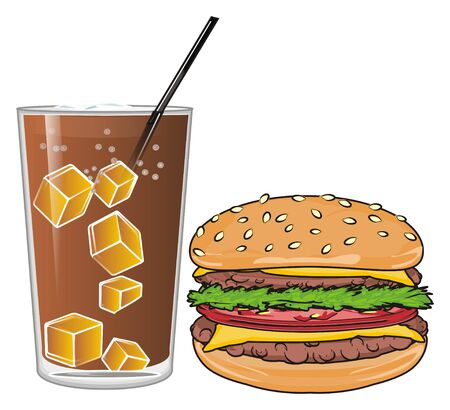 sesame: Glass of soda with burger Stock Photo