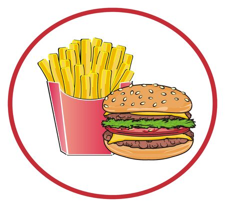 sesame street: Fast food on the middle of red circle