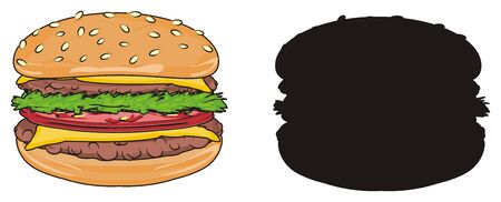 Colored burger with solid black burger