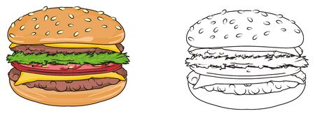 sesame street: Colored burger with coloring burger Stock Photo
